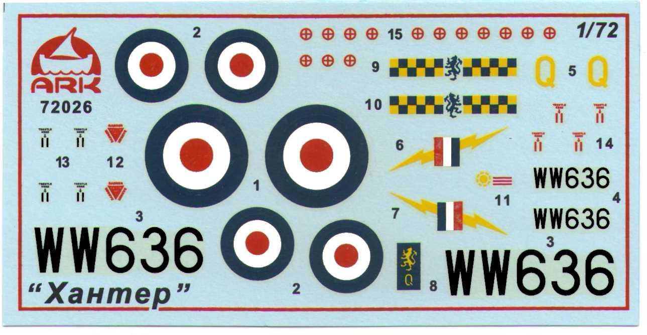 Декали из набора Ark Model 72026 Hawker HunterF.Mk.1