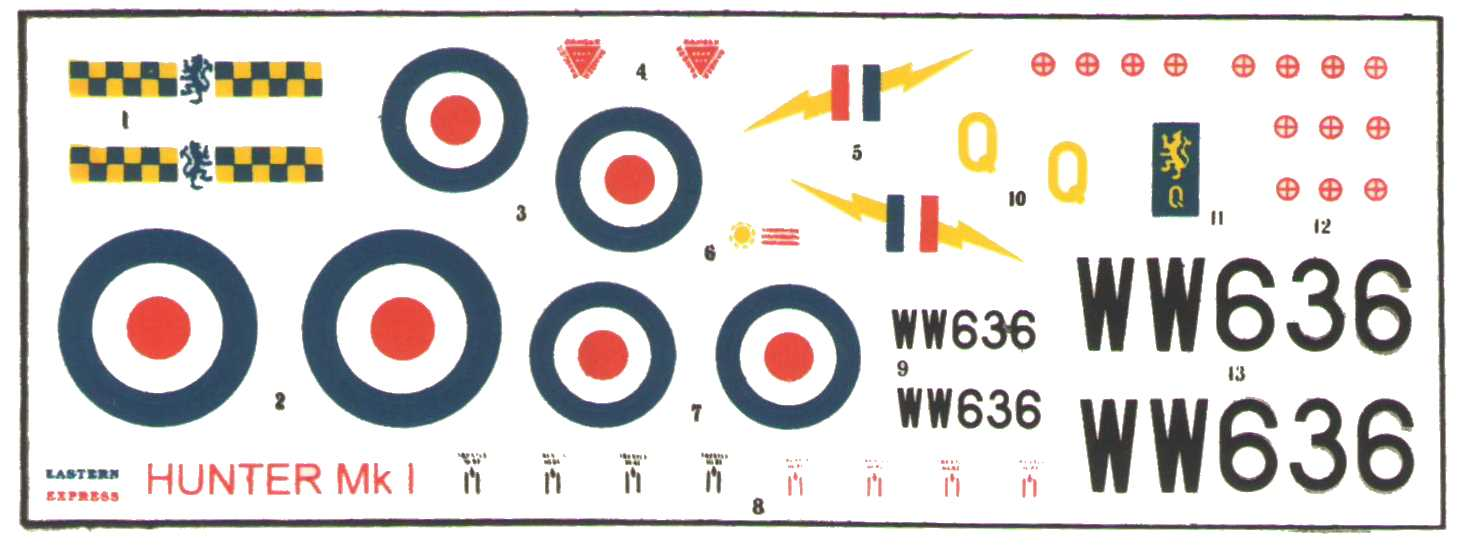 Декаль из набора Eastern Express 72272 Hawker Hunter F.Mk.1