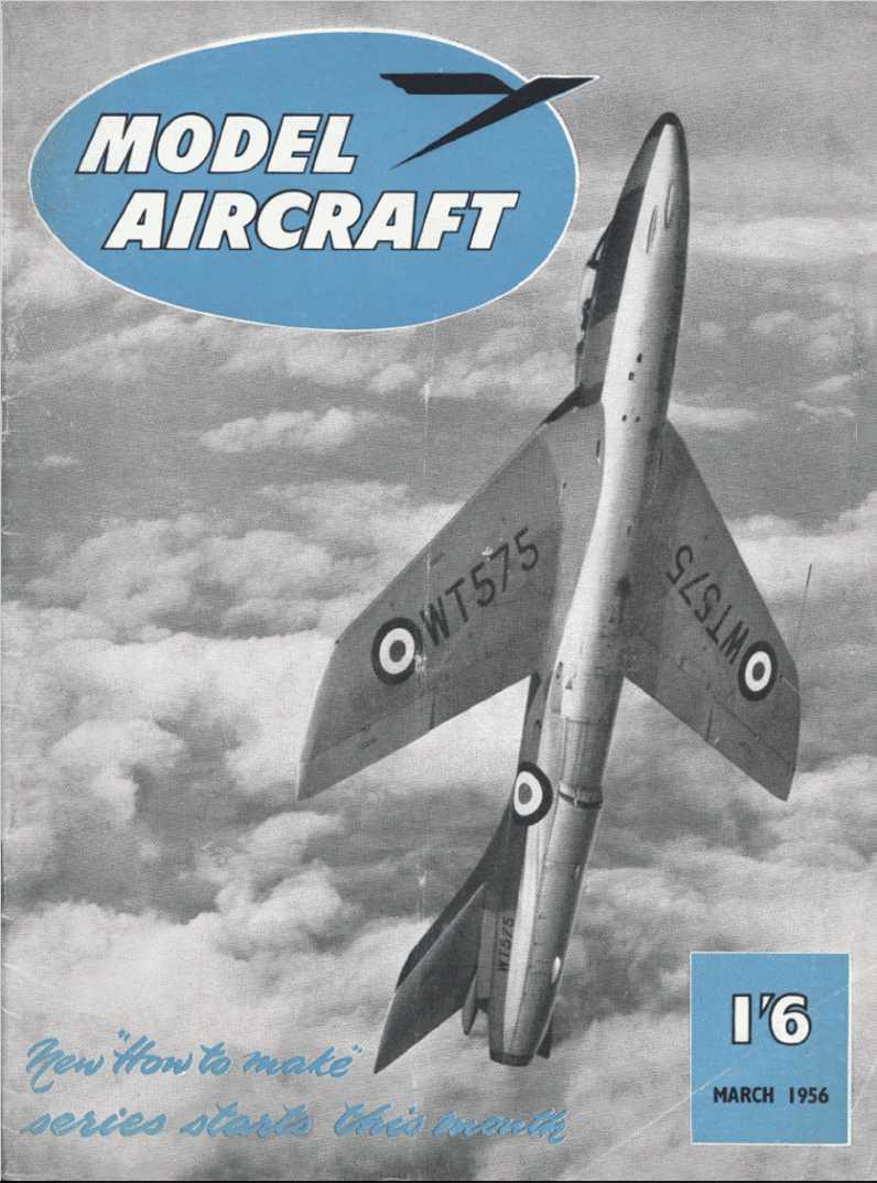 Hawker Hunter F.1 WT575 на обложке Model aircraft 1956-03