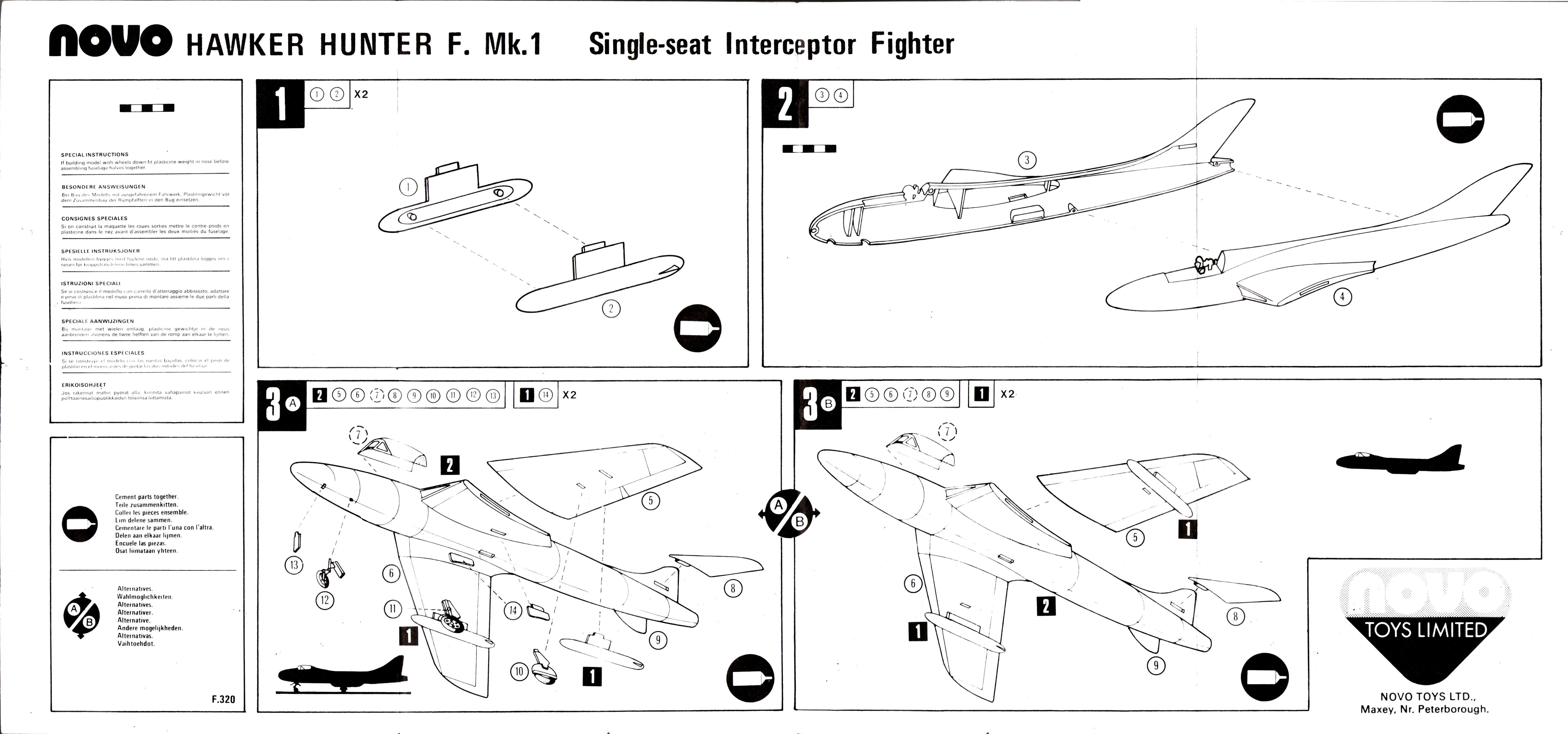 Инструкция по сборке NOVO Toys Ltd F320 Hawker Hunter