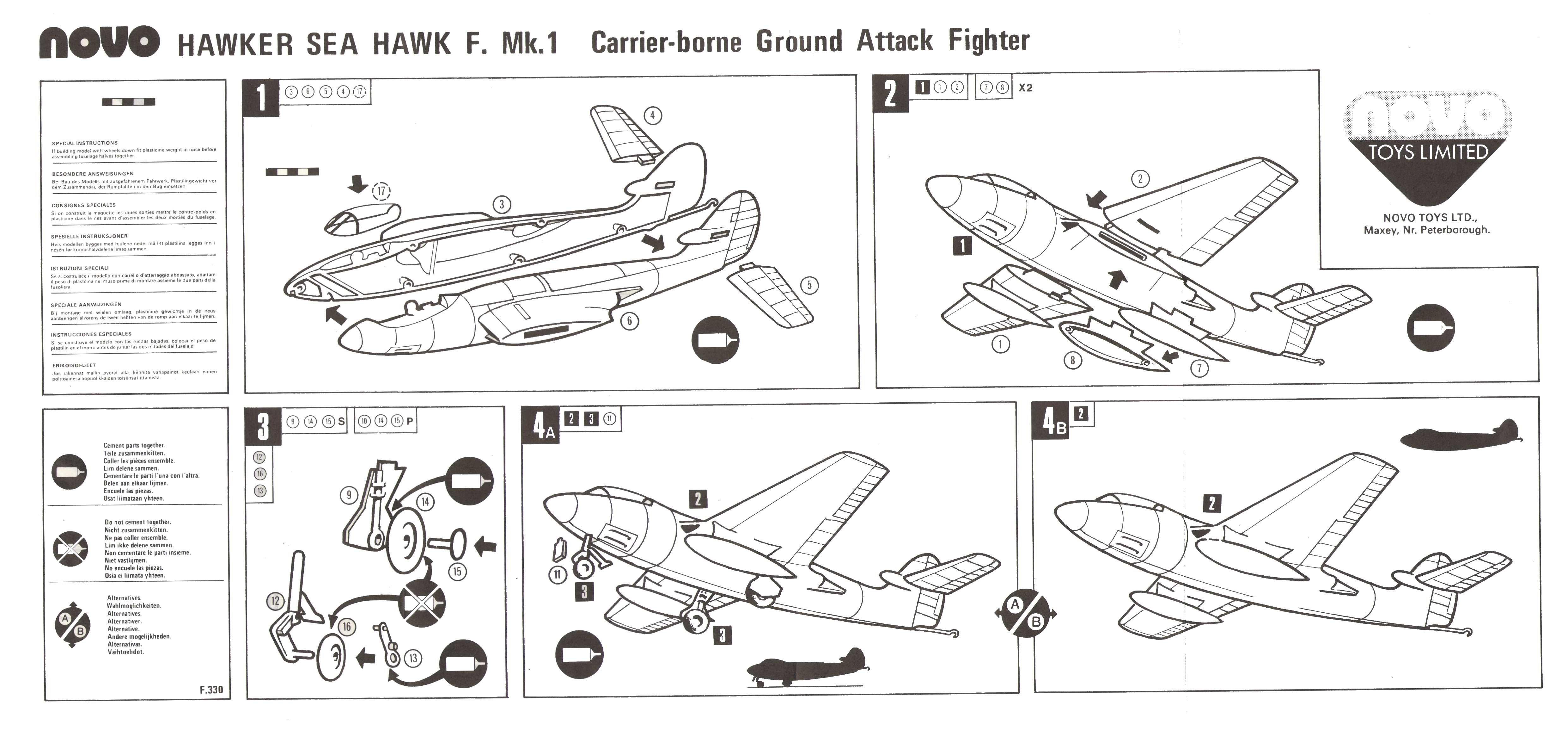 Инструкция по сборке NOVO Toys Ltd F328 Hawker Sea Hawk