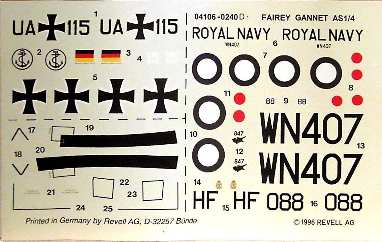 Декаль Revell 04106 Fairey Gannet A.S.Mk.1, 1996