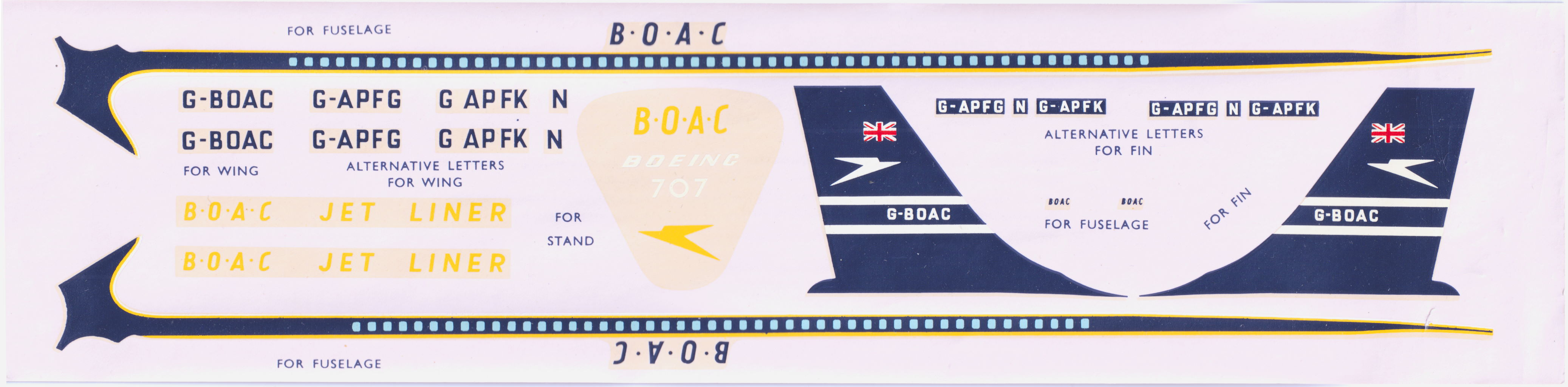 Декаль FROG 349P Boeing 707 Jet Airliner BOAC