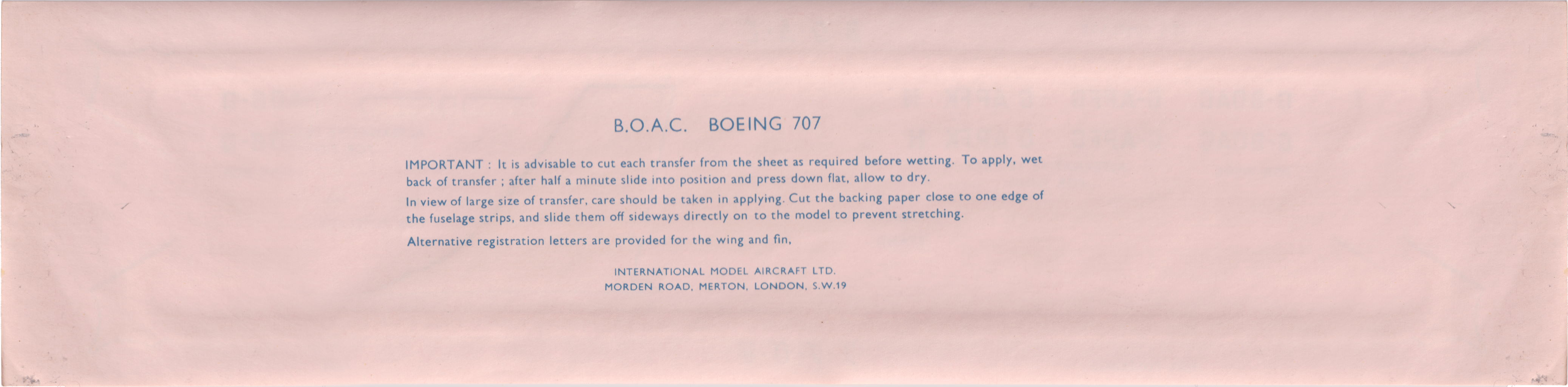 Декаль оборот FROG 349P Boeing 707 Jet Airliner BOAC