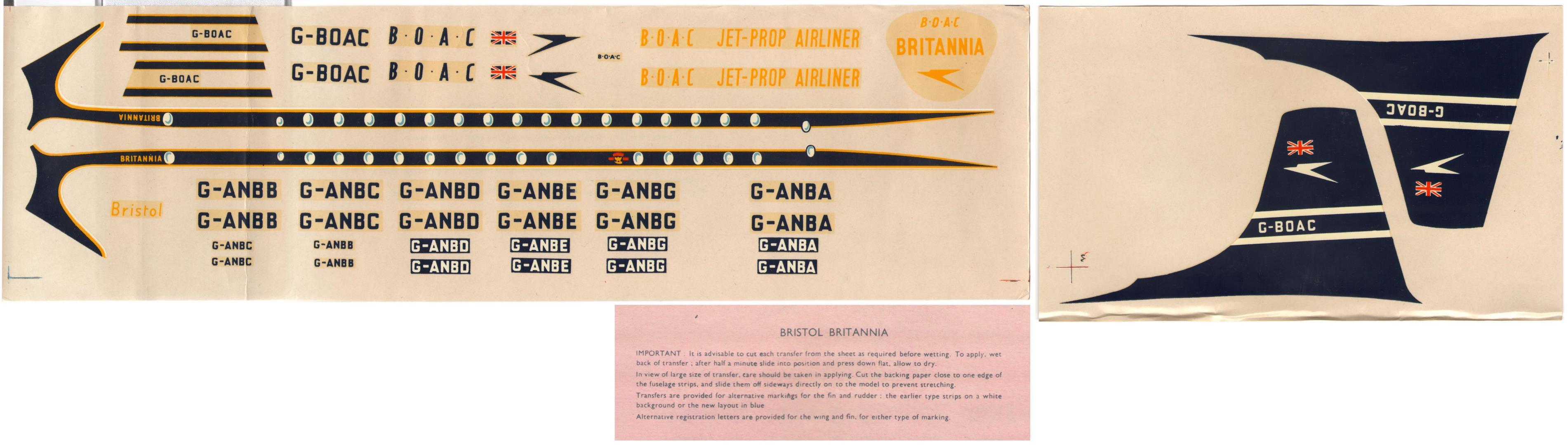 Декаль FROG 350P The B∙O∙A∙C Bristol Britannia Jet-Prop Airliner