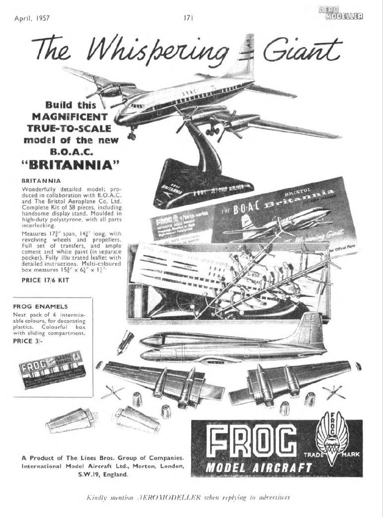 Самый первый анонс на всю страницу Aeromodeller 1957-04 модели FROG 350.P Bristol Britannia Srs.101