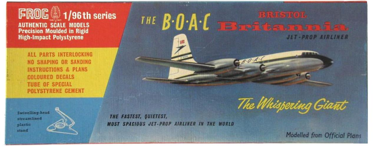Верх коробки FROG 350P The B∙O∙A∙C Bristol Britannia Jet-Prop Airliner