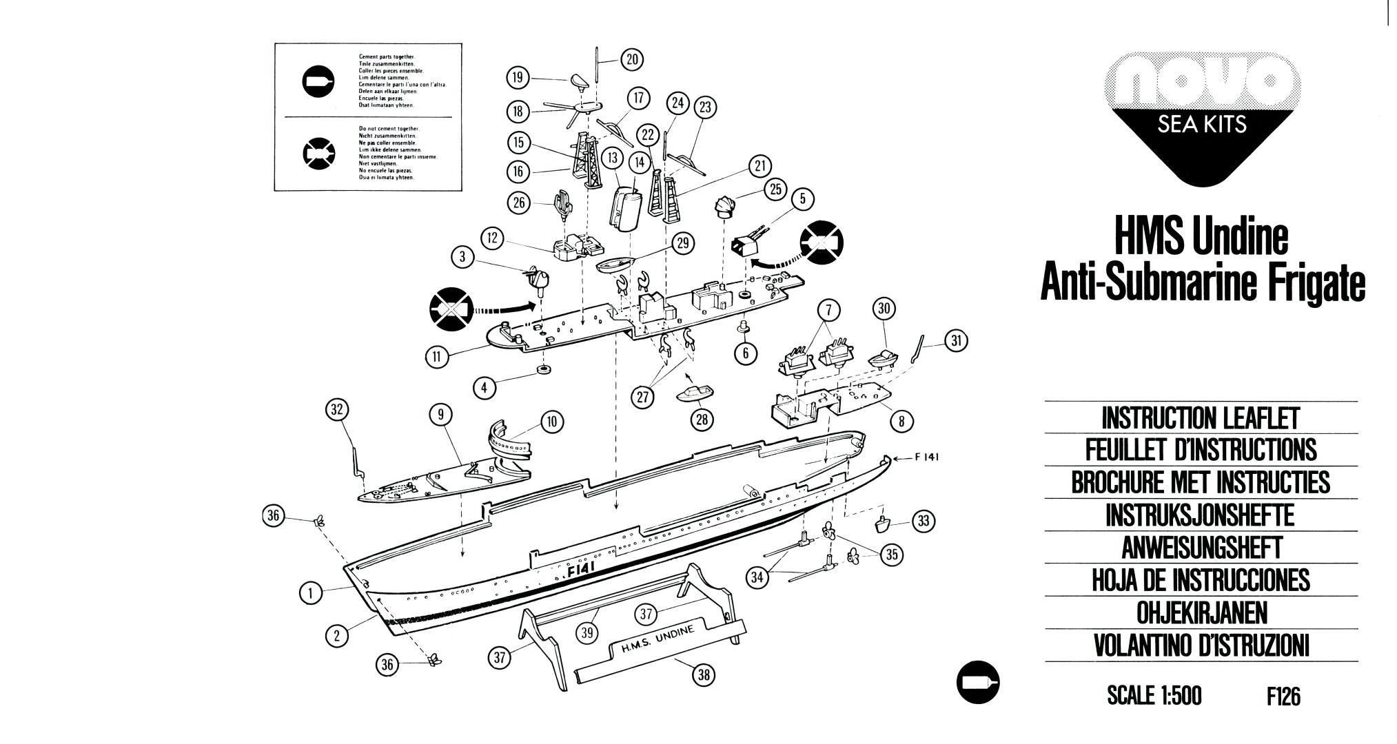 Инструкция NOVO Toys Ltd F126 Cat.No.76029 HMS Undine Anti-Submarine Frigate