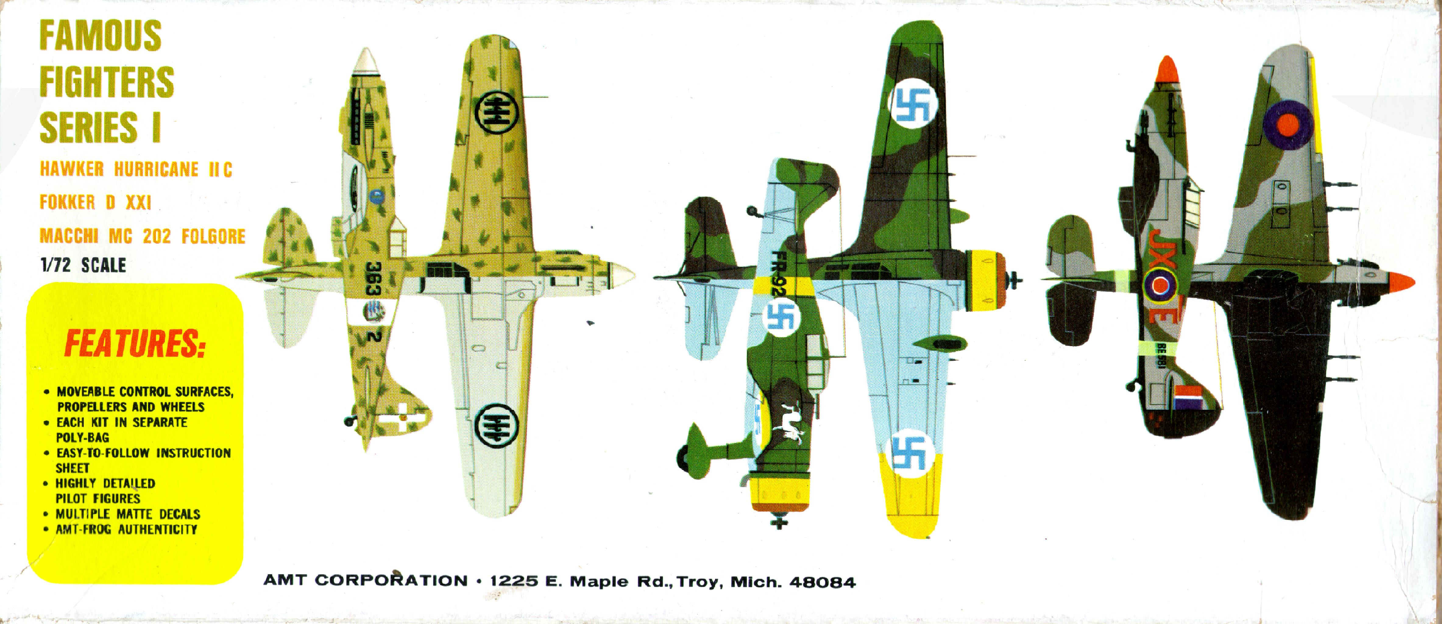Схемы окраски и маркировки amt 3955-130 Fokker D21, Famous Fighters Series I, American Metal Toys, 1969,1