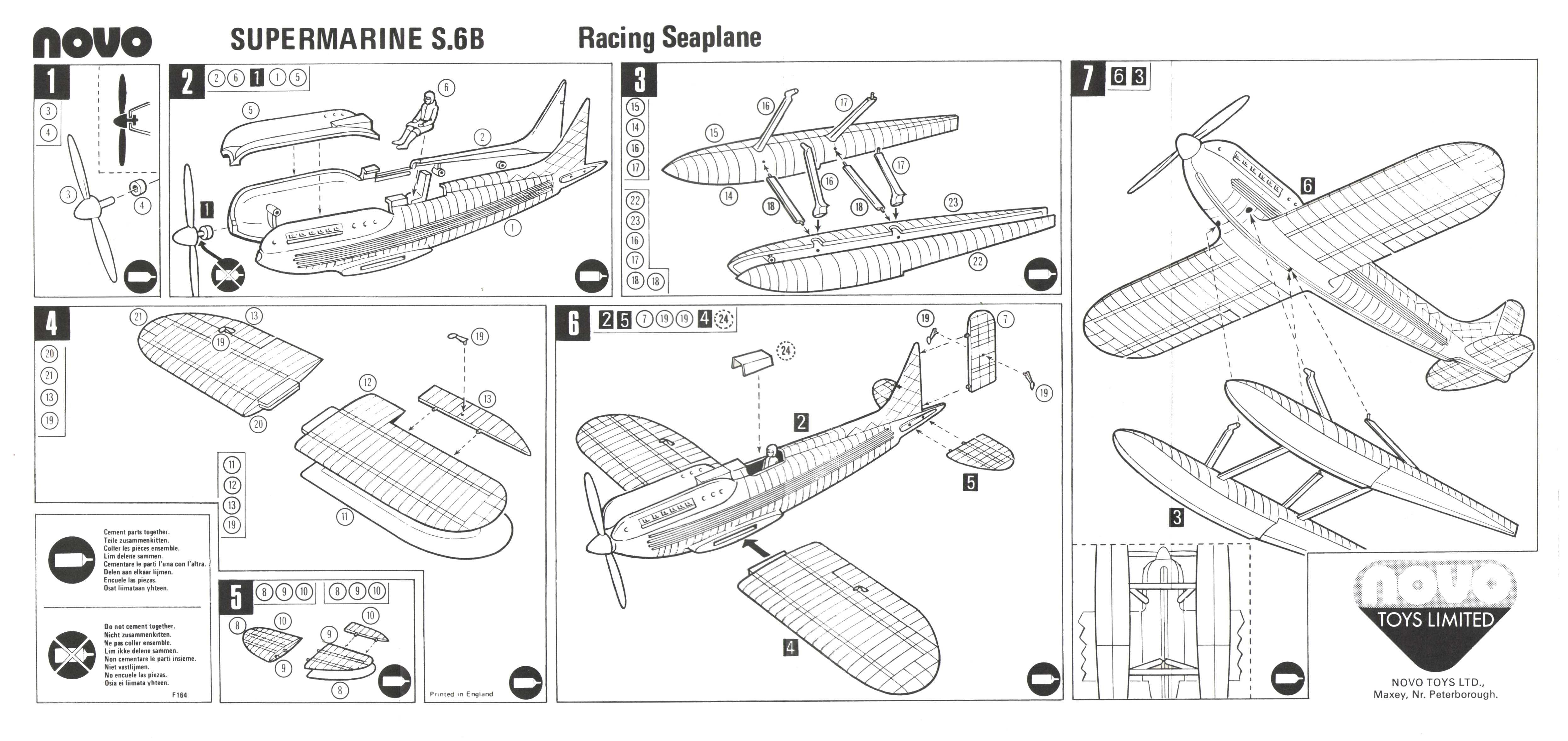 Инструкция по сборке NOVO Toys Ltd F164 Supermarine S.6B