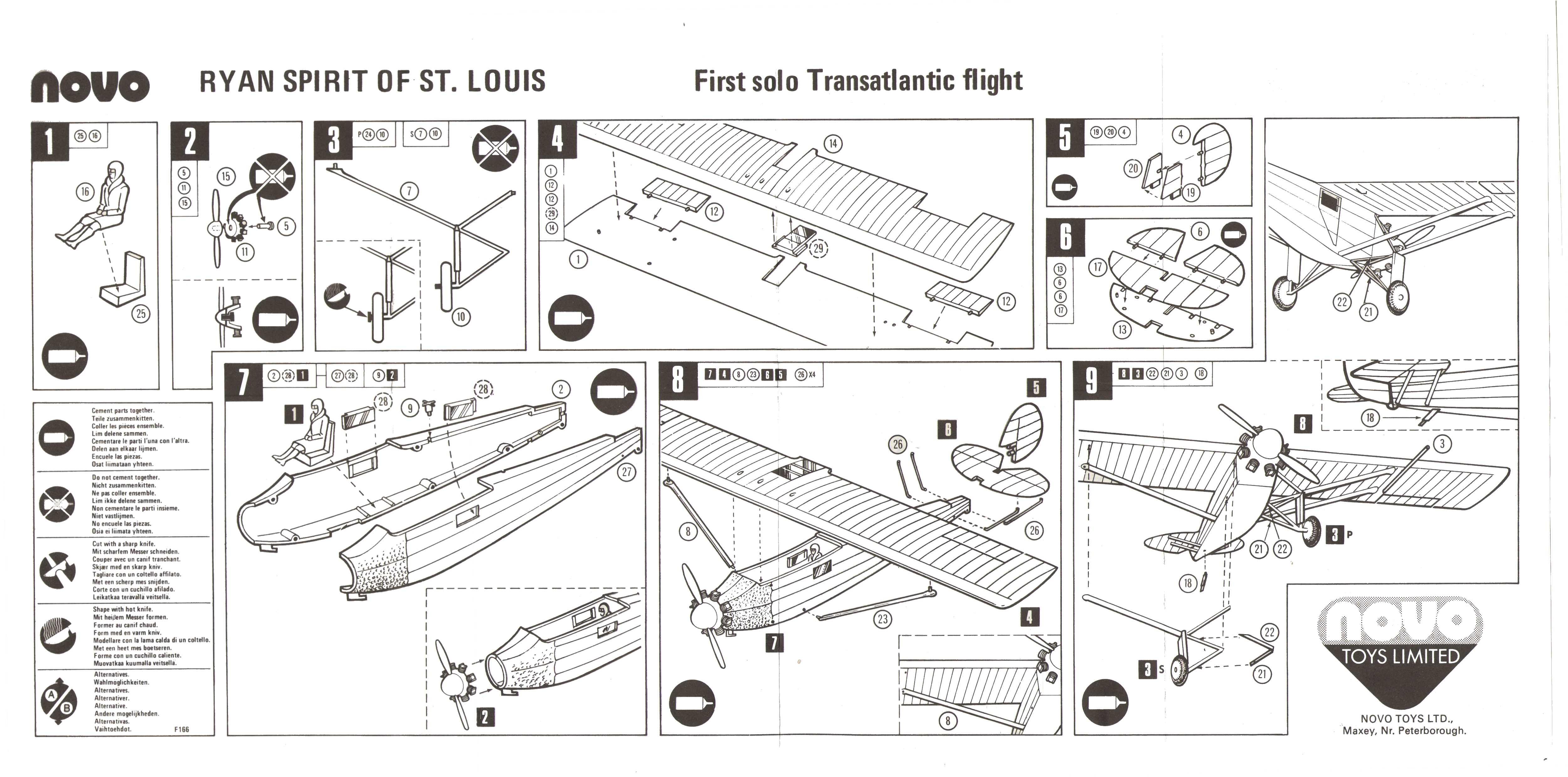 Инструкция по сборке NOVO Toys Ltd F166 Ryan - Spirit of St. Louis