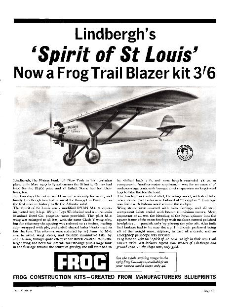 FROG, The Trailblazers F166, Ryan Spirit of St Louis, рекламный анонс в журнале Flying Review, 1965-05