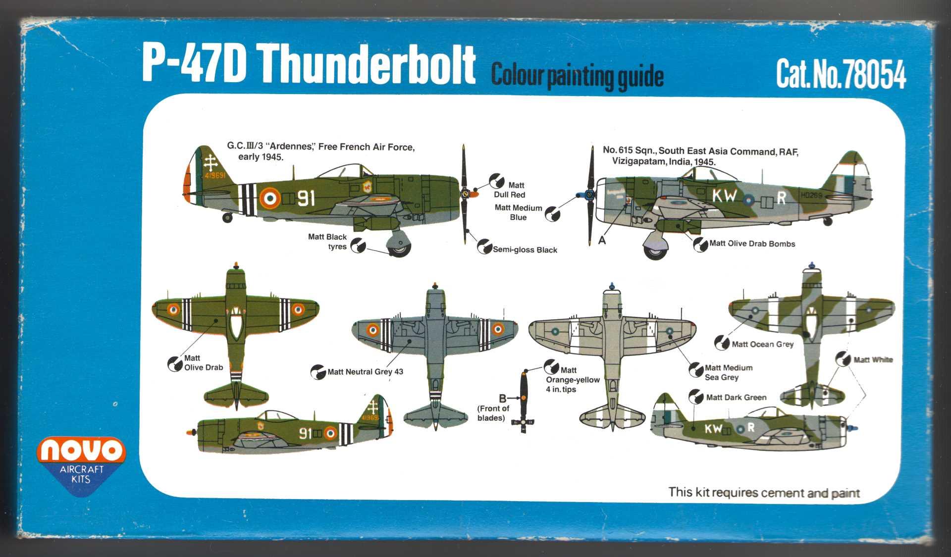 Руководство по окраске NOVO F183 Thunderbolt - Fighter Bomber на нижней части коробки