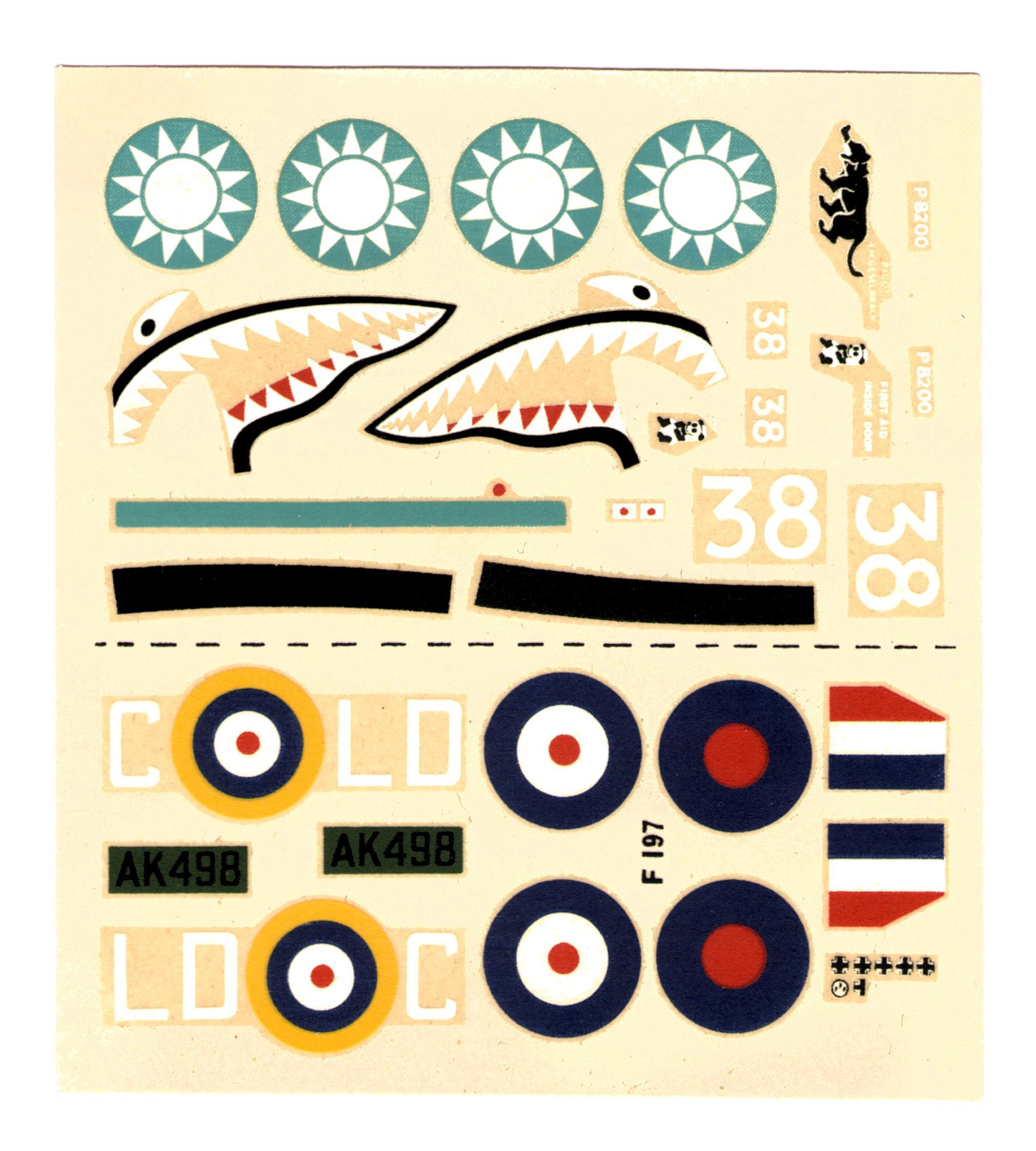 Декаль NOVO Toys Ltd F197 Curtiss P-40 Tomahawk 1/72