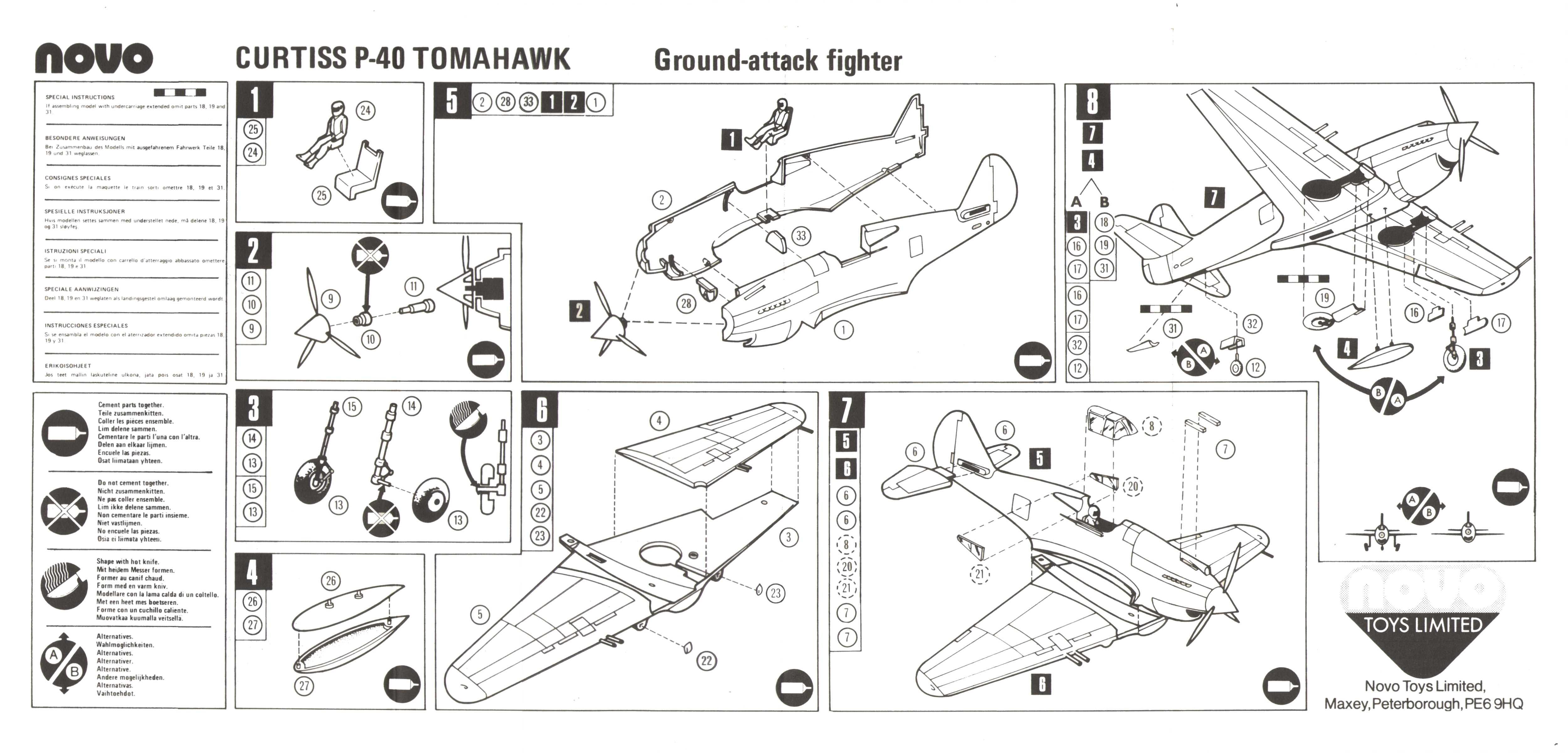 Инструкция по сборке NOVO Toys Ltd F197 Curtiss P-40 Tomahawk