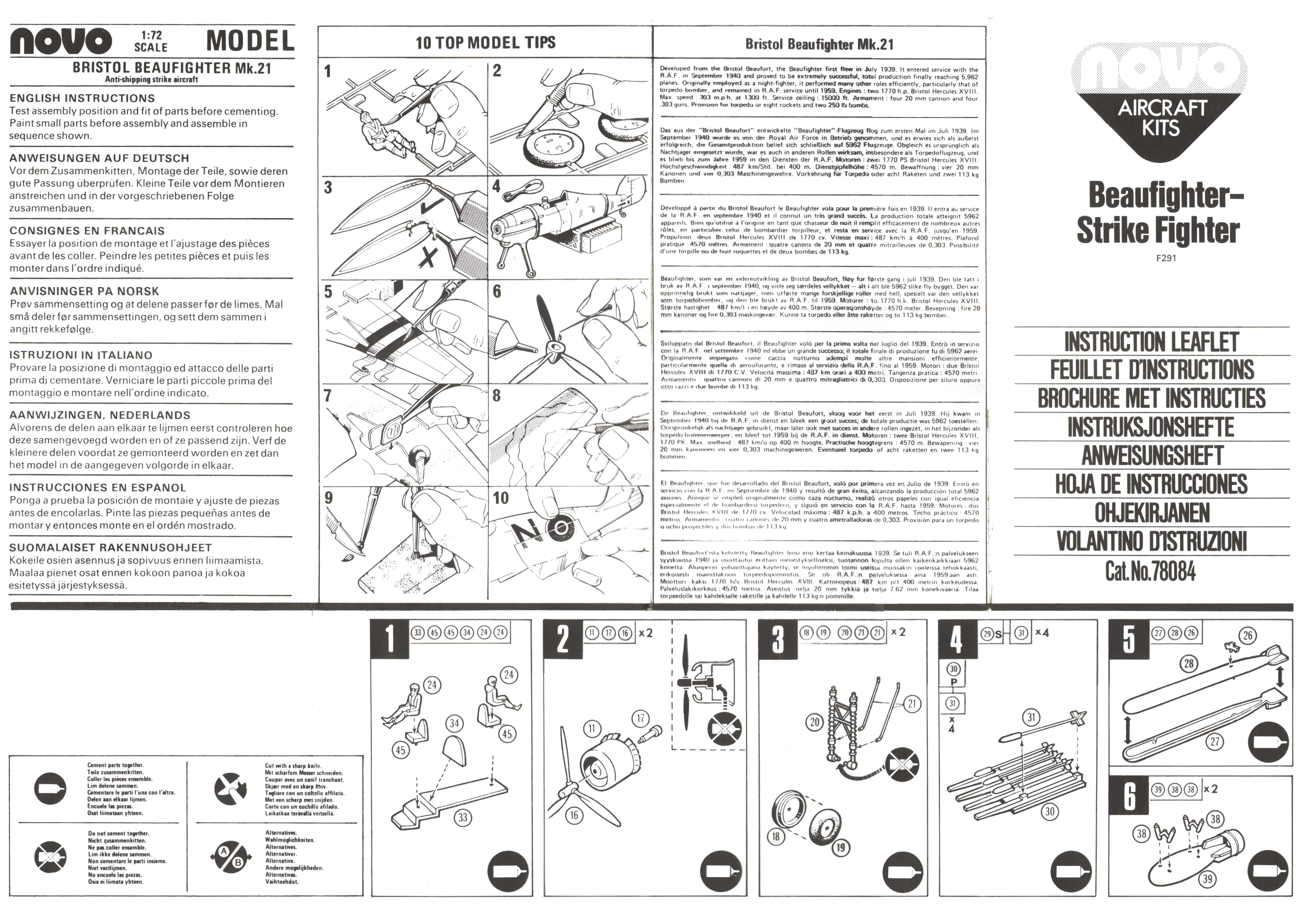 Инструкция NOVO Toys Ltd F291 Beaufighter Mk.21