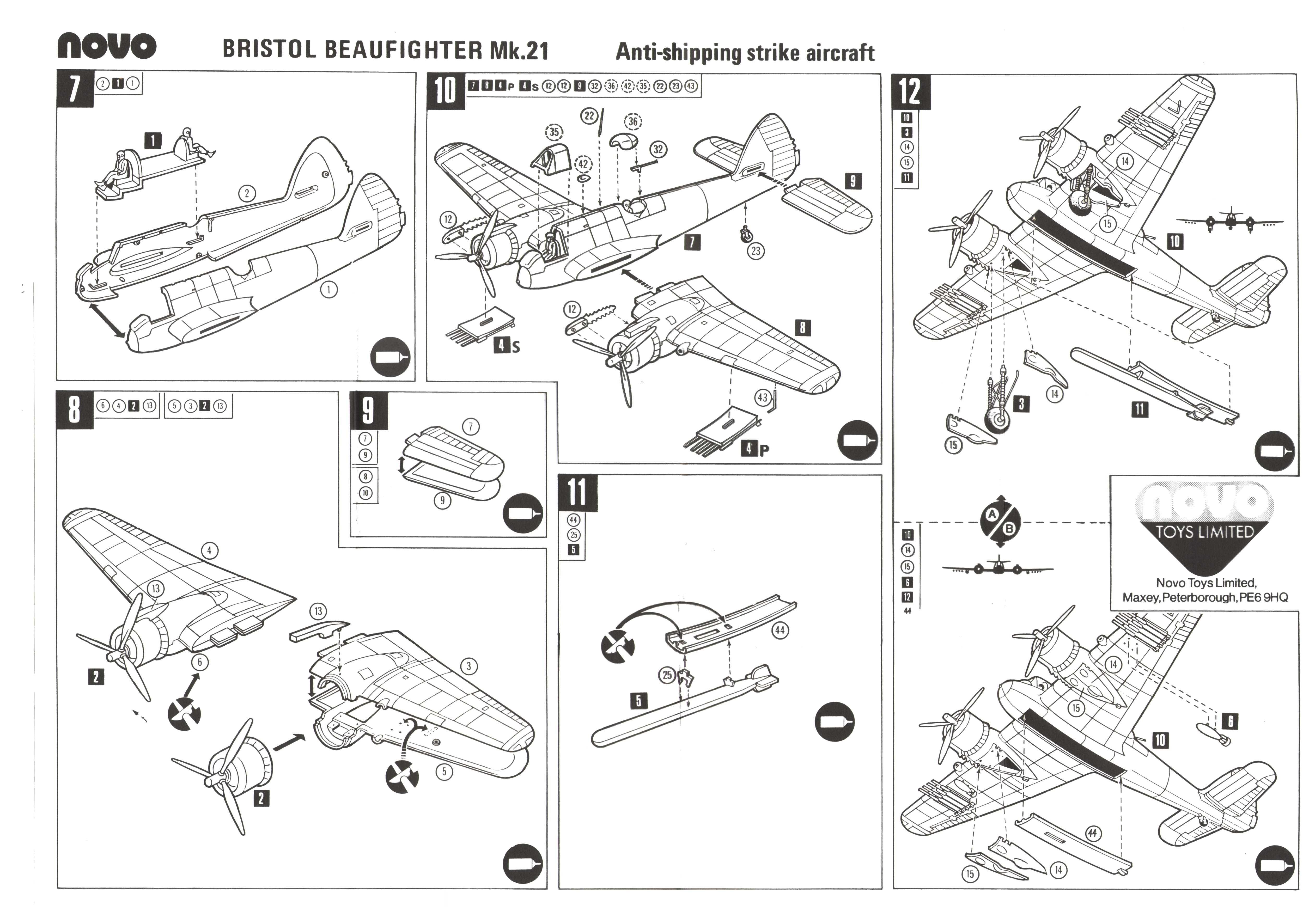 Инструкция по сборке NOVO Toys Ltd F291 Beaufighter Mk.21
