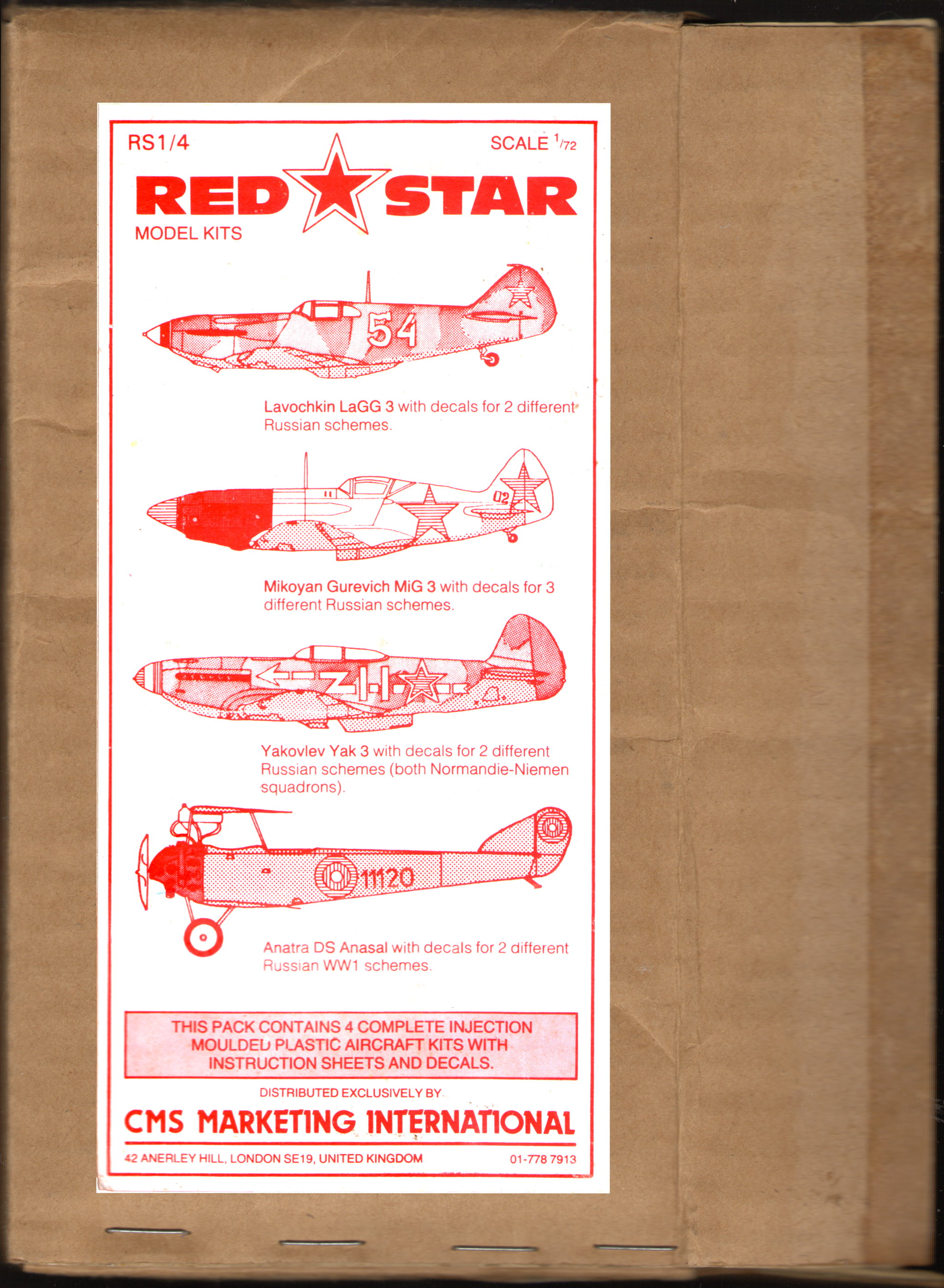Four kits pack box Red Star Red Star RS1/4 Lavochkin LaGG-3, CMS Marketing International, 1983/4, box