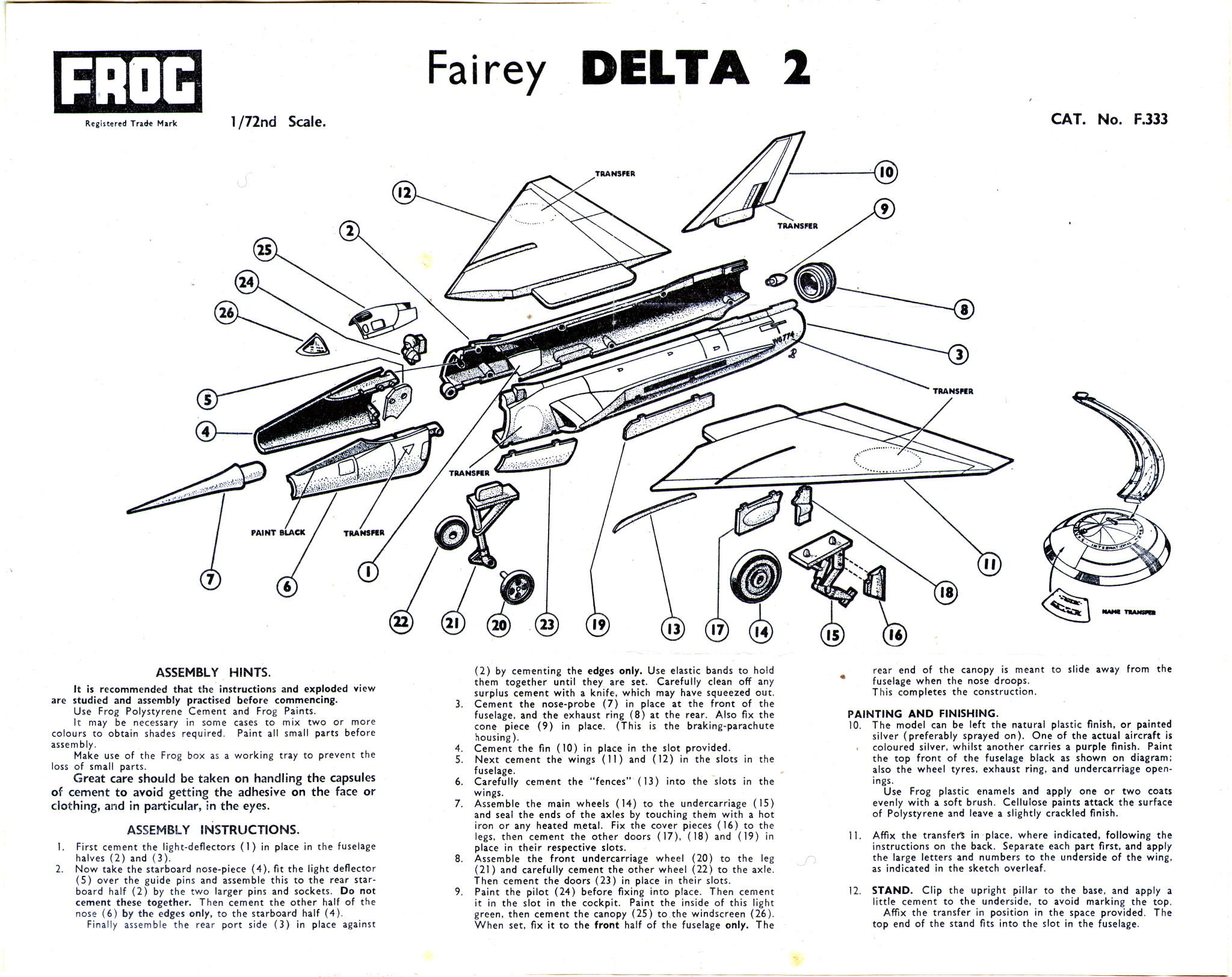 Коробка FROG F333 Fairey Delta - Research Aircraft with Gold Tokens, IMA, 1965-66